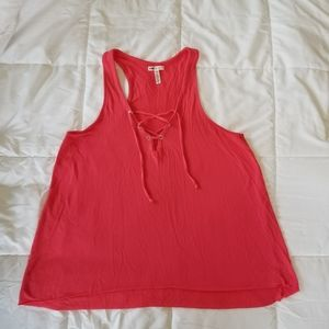 PINK Hot Pink Lace Up Racerback Flowy Tank